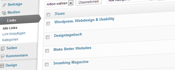 Blogroll in Wordpress 3.5